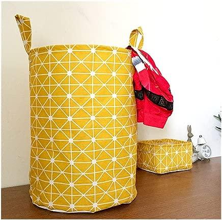 Mirayen Geometric Pattern Cotton Linen Hamper for Laundry Pop-up Laundry Hamper Laundry Basket Nursery Hamper Laundry Bin Storage Basket for Clothes and Toys  yellow