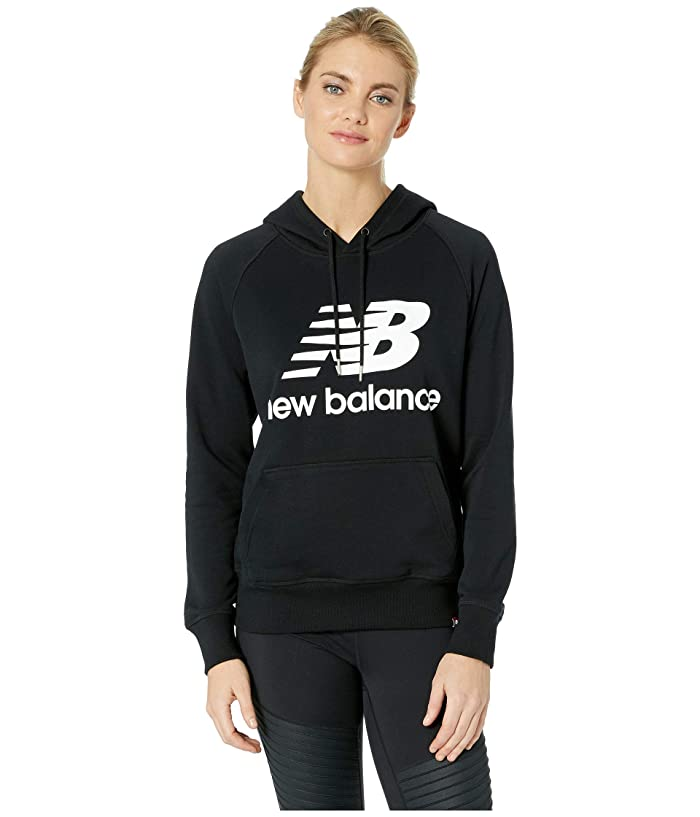 New Balance Essentials Pullover Hoodie (Black/White) Women