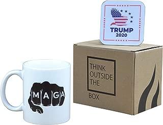 Donald Trump Coffee Mug MAGA Fist 2020 Novelty Cup President of The United States MAGA 11oz With Coaster