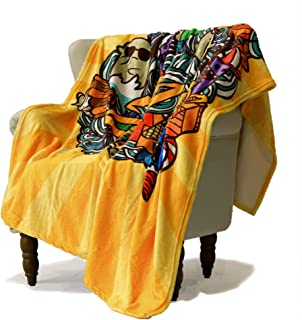 SimbaDeco New Year's Decorative Sofa Bedding Throw Blanket for Sofa Cute Cartoon Characters Dancing Santa Claus Blankets S...