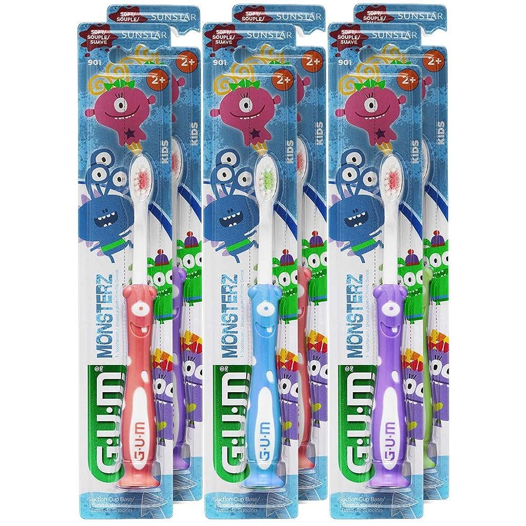ハーブ影響力のあるマトンGUM Monsterzモンスターズキッズ/幼児歯ブラシ、子供2+、ソフト、(6パック)