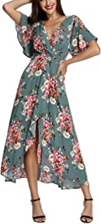 602f175ad755 Azalosie Wrap Maxi Dress Short Sleeve V Neck Floral Flowy Front Slit High  Low Women Summer