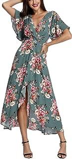Azalosie Wrap Maxi Dress Short Sleeve V Neck Floral Flowy...