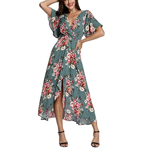 20bc7d8617 Azalosie Wrap Maxi Dress Short Sleeve V Neck Floral Flowy Front Slit High  Low Women Summer
