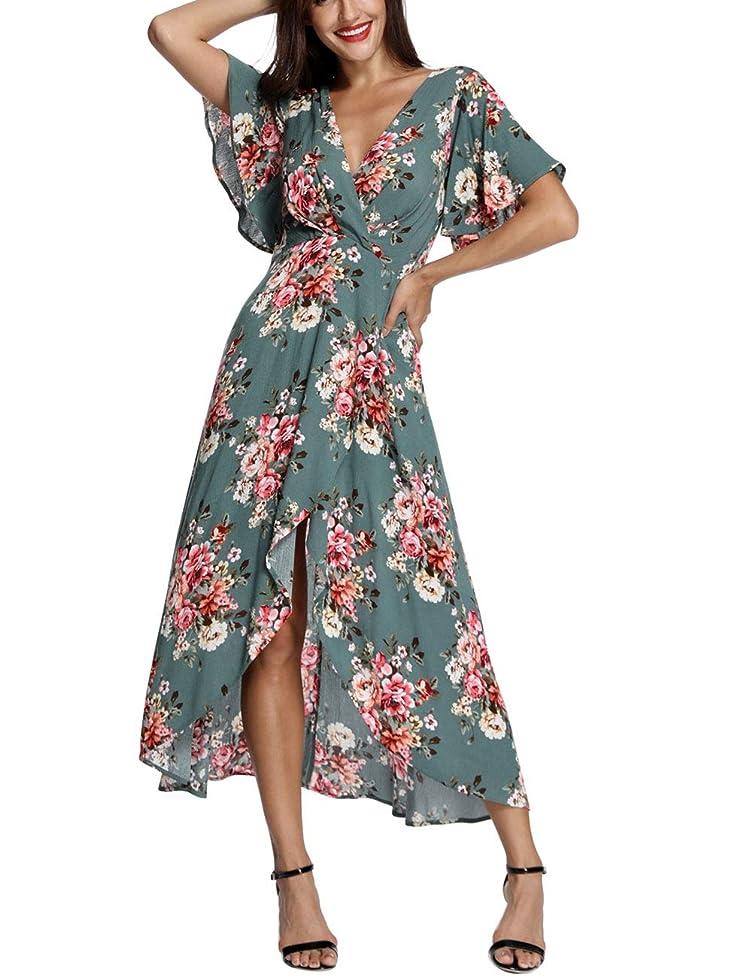 Azalosie Wrap Maxi Dress Short Sleeve V Neck Floral Flowy Front Slit High Low Women Summer Beach Party Wedding Dress wub536047905076