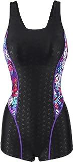Uhnice Womens Sharkskin Boyleg Athletic Swimwear One Piece Halterneck Tankini