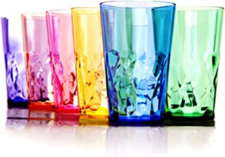 19 oz Unbreakable Premium Drinking Glasses Tumbler - Set of 6 - Tritan Plastic Cups - BPA Free - 100% Made in Japan (Assor...