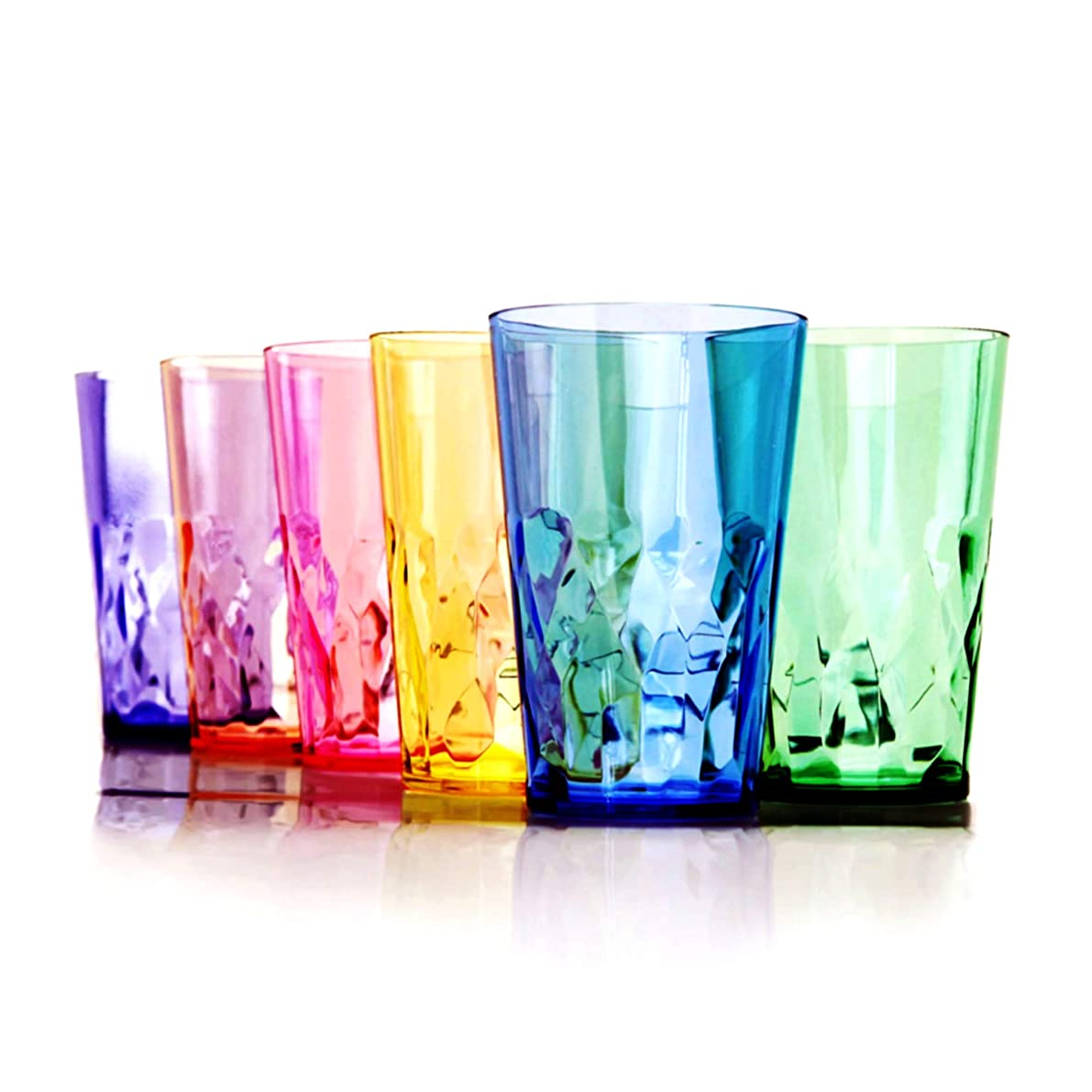 19 oz Unbreakable Premium Drinking Glasses - Set of 6 - Tritan Plastic Cups - BPA Free - 100% Made in Japan (Assorted Colors)