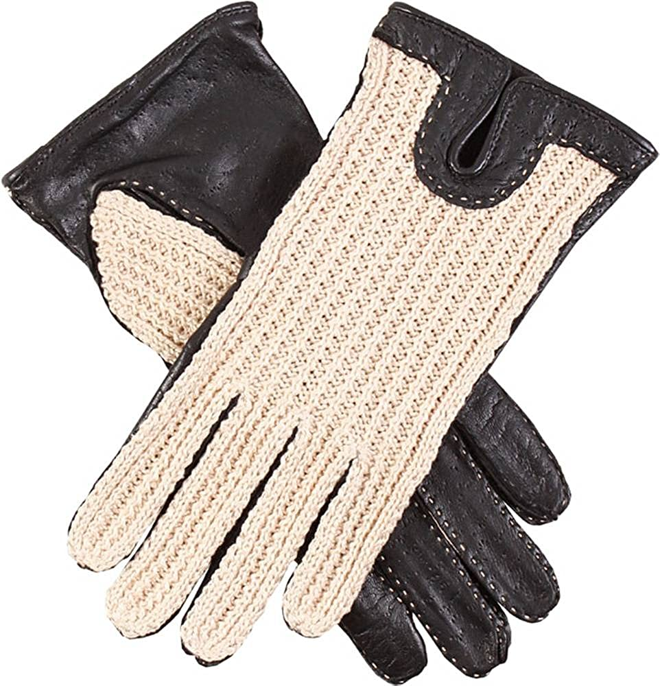 Dents Womens Kelly Crochet Back Driving Gloves - Black