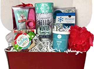 Holiday Christmas Spa Gift Basket in a Box with Bath Bombs Chocolate Cozy Socks and more for Women