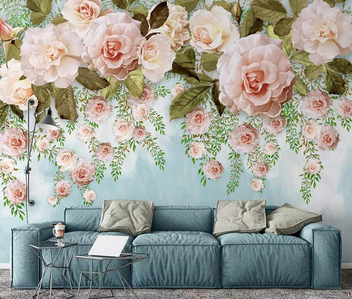 消化無法者推定Minyose 現代の3D壁紙手描きの油絵花柄ヨーロッパの3D背景の壁の装飾写真壁画の壁紙-200cmx140cm