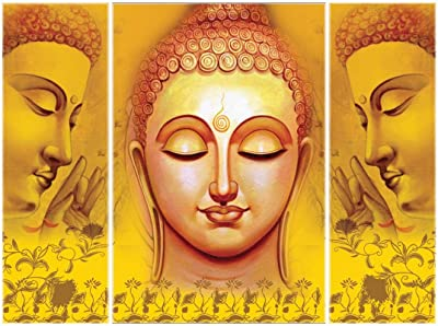 SAF 6MM Buddha Set of 3 Panel Digital Reprint 12 inch x 18 inch Painting (SAJM7706) SANFJM7706