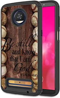 Moto Z3 Case, Moto Z3 Play Case, Rossy Heavy Duty Hybrid TPU Plastic Dual Layer Armor Defender Protection Case Cover for Motorola Moto Z3 Play 2018,Baseball Bible Verse Psalm 46:10 Quote