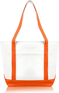 DALIX Daily Shoulder Tote Bag Premium Cotton in Orange