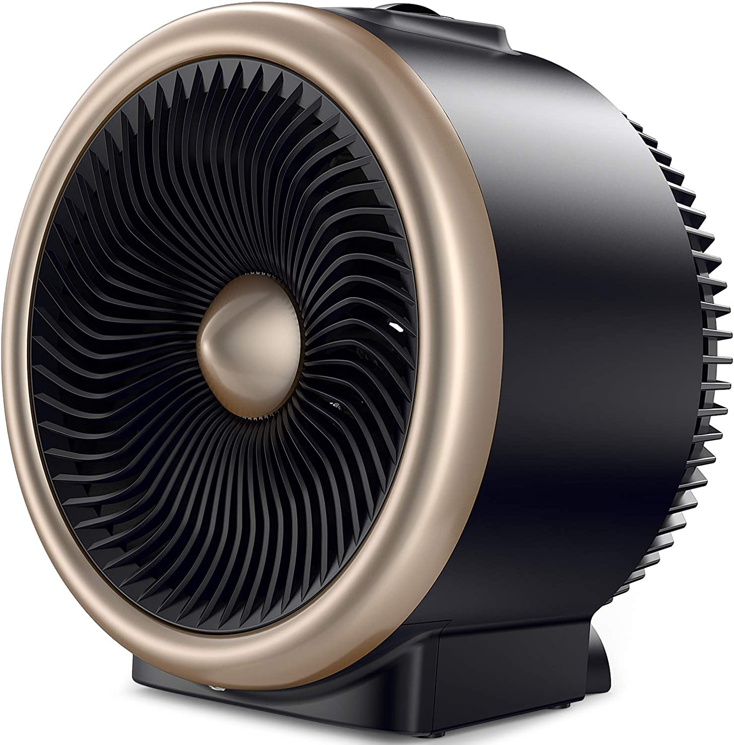 PELONIS PSH700G PSH700S Space Vortex Heater with Air Circulator Fan, 2 in 1 Portable, 900W 1500W, ETL Listed, Auto Tip-Over Shut Off & Overheat Predection for All Seasons & Whole Room, Silver, gold