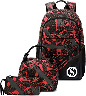 School Backpack Boys Kids School Bookbag Set Student Backpack with Lunch Box and Pencil Case (Graffiti - Red)