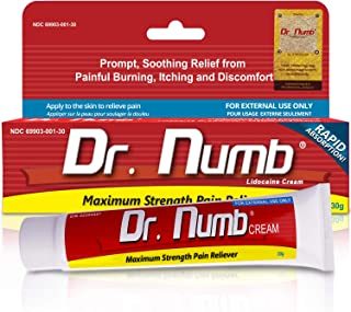 1 Tube of Dr. Numb Maximum Strength Topical Anesthetic Anorectal Cream | Pain Relief Cream for Tattoo, Piercing, Microneedling, Microblading, Waxing, Dermarolling, Hemorrhoid Treatment, Hair Removal