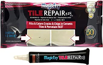 MagicEzy Tile REPAIRezy: (White) - Repair Chipped and Cracked Porcelain Tiles Easily - Tile Crack Repair Kit - Touchup Paint - Strong Tile Gap Filler with Strong Adhesion