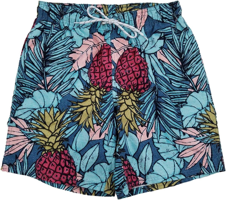 Mens Blue Tropical Floral Hawaiian Pineapple Swim Trunks Board Shorts Small