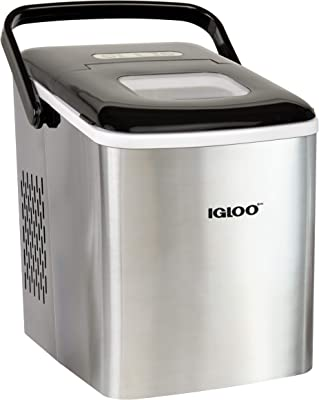 Igloo ICEB26HNSS Automatic Self-Cleaning Portable Electric Countertop Ice Maker Machine With Handle, 26 Pounds in 24 Hours, 9 Ice Cubes Ready in 7 minutes, With Ice Scoop and Basket, Stainless