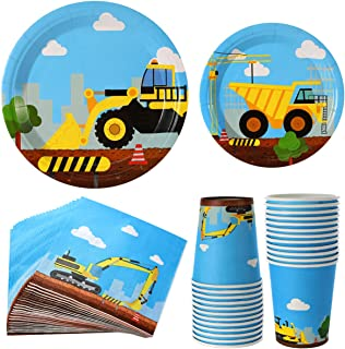 Construction Birthday Party Supplies Set 122 Pieces For Kids- -Serves 24 Guest-Digger Truck Bulldozer Themed Dinnerware Kit - Including Dump Truck disposable Plates, Cups, Napkins