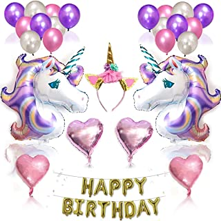 Other Unicorn Party Supplies And Decorations Set - With Glitter Unicorn Headband Unicorn Balloons Gold Happy Birthday Bann...