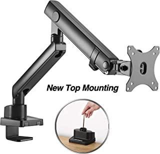 AVLT-Power Single Monitor Desk Stand - Easy Installation New Top Mounting - Mount 17.6 lbs Computer Monitor on Full Motion Adjustable Arm - Organize Your Work Surface with Ergonomic VESA Monitor Riser