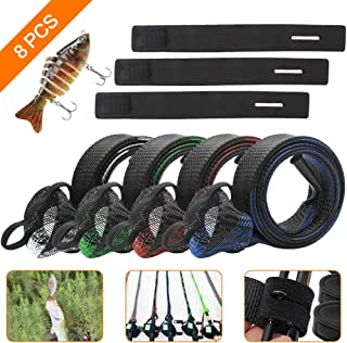 SAYOPIN 8pcs Fishing Rod Sleeves Set 4pcs Braided Mesh Rod Socks 67'' Pole Gloves Rod Protector Cover + 1 Multi Jointed Fishing Lure for Bass + 3Fishing Rod Belts Straps Fishing Tools Accessories.