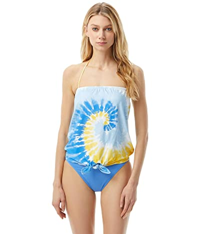 MICHAEL Michael Kors Vintage Tie-Dye Tie Front Tankini with Removable Soft Cup (Multi Saffron) Women