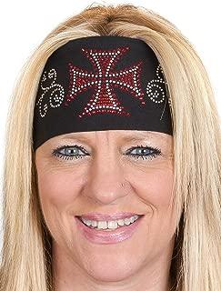 Open Road Girl Hair Bandana: Wide Headbands for Women: Biker Chick Head Wrap: Biker Cross