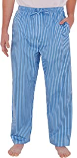 Mens Woven Cotton Pajama Pants, Long Striped Pjs
