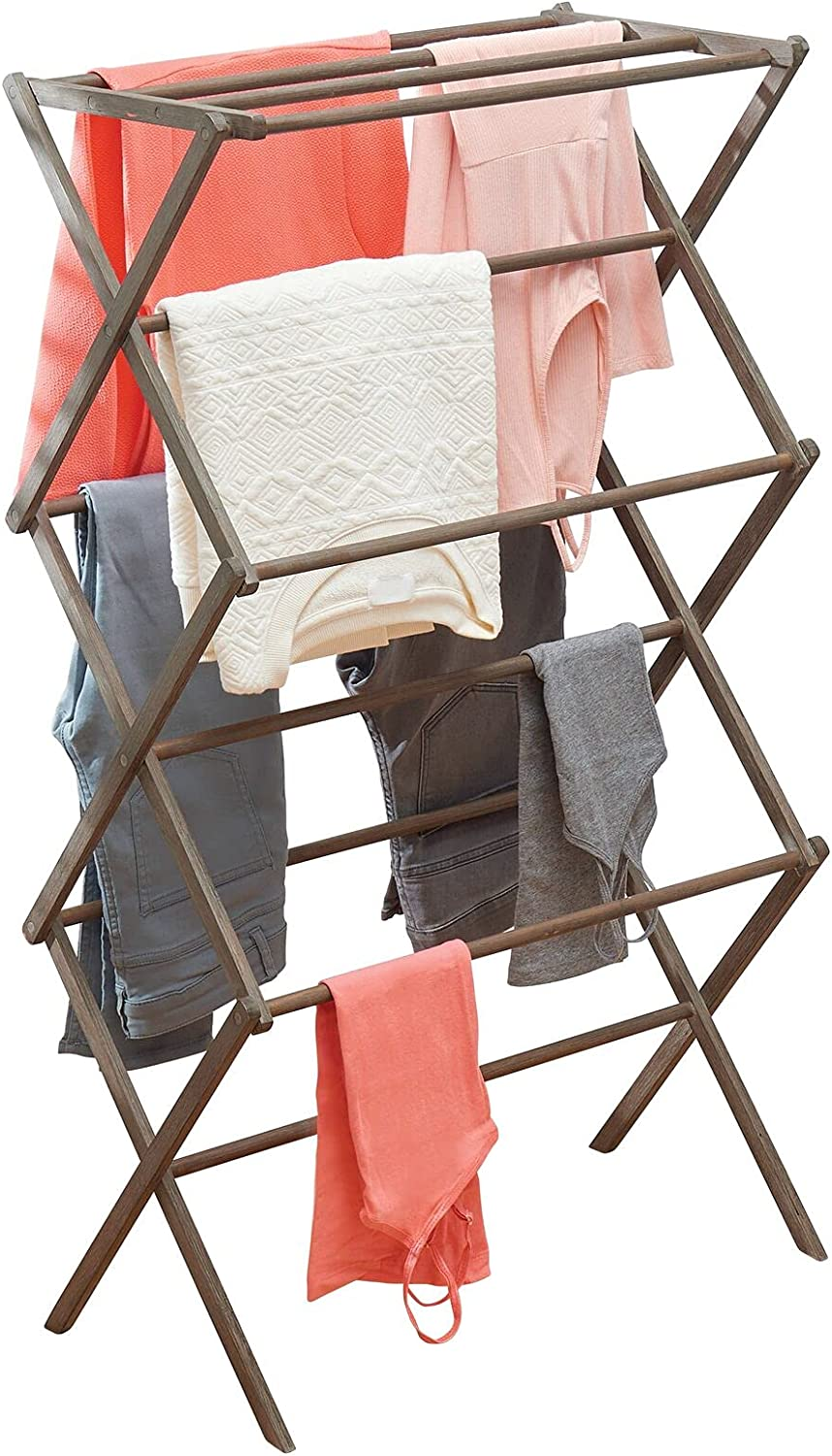 mDesign New product Tall Vertical Foldable Bamboo Sales of SALE items from new works Rack Drying Laundry Comp -
