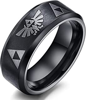 8mm The Legend of Zelda Triforce Ring, Stainless Steel Matte Finished Bands