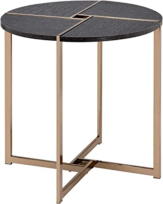 Acme Furniture Bromia End Table, Black & Champagne