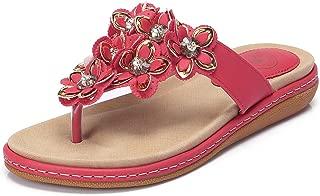 Women's Bohemia Beach Summer Flat Sandals T-Strap Beaded Dress Thong Flip Flops Comfortable Slip On Casual Shoes