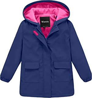 Girl's and Boy's Hooded Rain Jacket Waterproof Fleece Lined Windbreaker