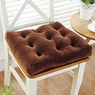 Best YEARLY Solid Color Chair Cushions, Thicken Plush Seat Pads Student Stool Ass Cushion Tatami Indoor Outdoor Chair Pads-Brown 48x48cm(19x19inch) Review