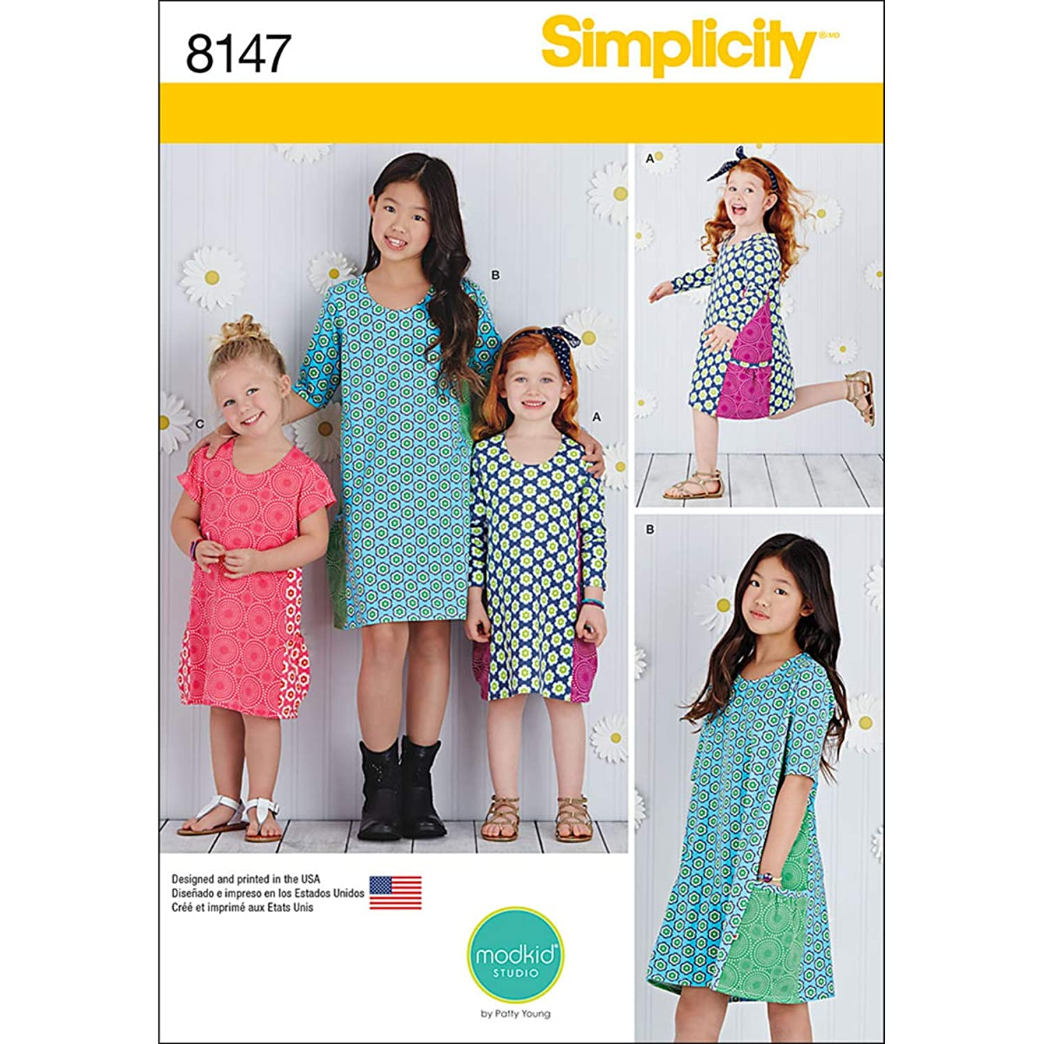 Simplicity Pattern 8147 Child's and Girls' Knit Dresses From Mod Kid Studio, HH (3-4-5-6)