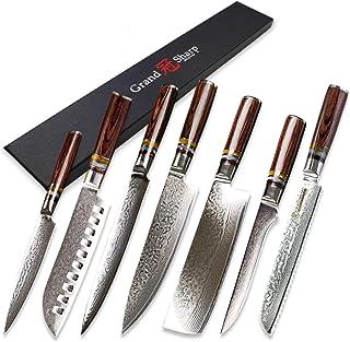 Grandsharp 7 pcs Couteau de cuisine Ensemble VG10 Damas Japonais Damas Chef Santoku Utilitaire Nakiri Dessin Sancing Coute...