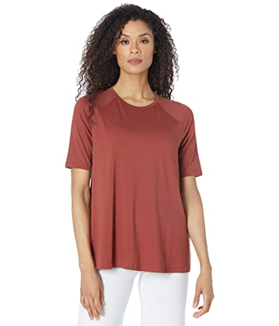 Eileen Fisher Fine Jersey Crew Neck Elbow Sleeve Top (Deep Terracotta) Women