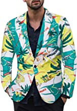 LUCAMORE Men's Fashion Vintage Slim Fit Casual 3D Printed One Button Suit Jacket Blazer (Pineapple/Leaves/Floral .)