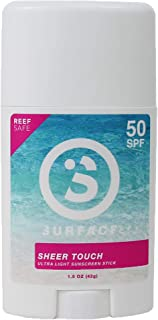 Surface Sheer Touch Body Sunscreen Stick - Reef Safe, Ultra-Light & Clean Feeling, Broad Spectrum UVA/UVB Protection, Crue...