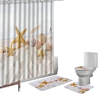 Amagical 16 Pieces Shower Curtain Set Bath Mat Set Contour Mat Toilet Cover Yellow Starfish Seashells Print Shower Curtain with 12 Hooks