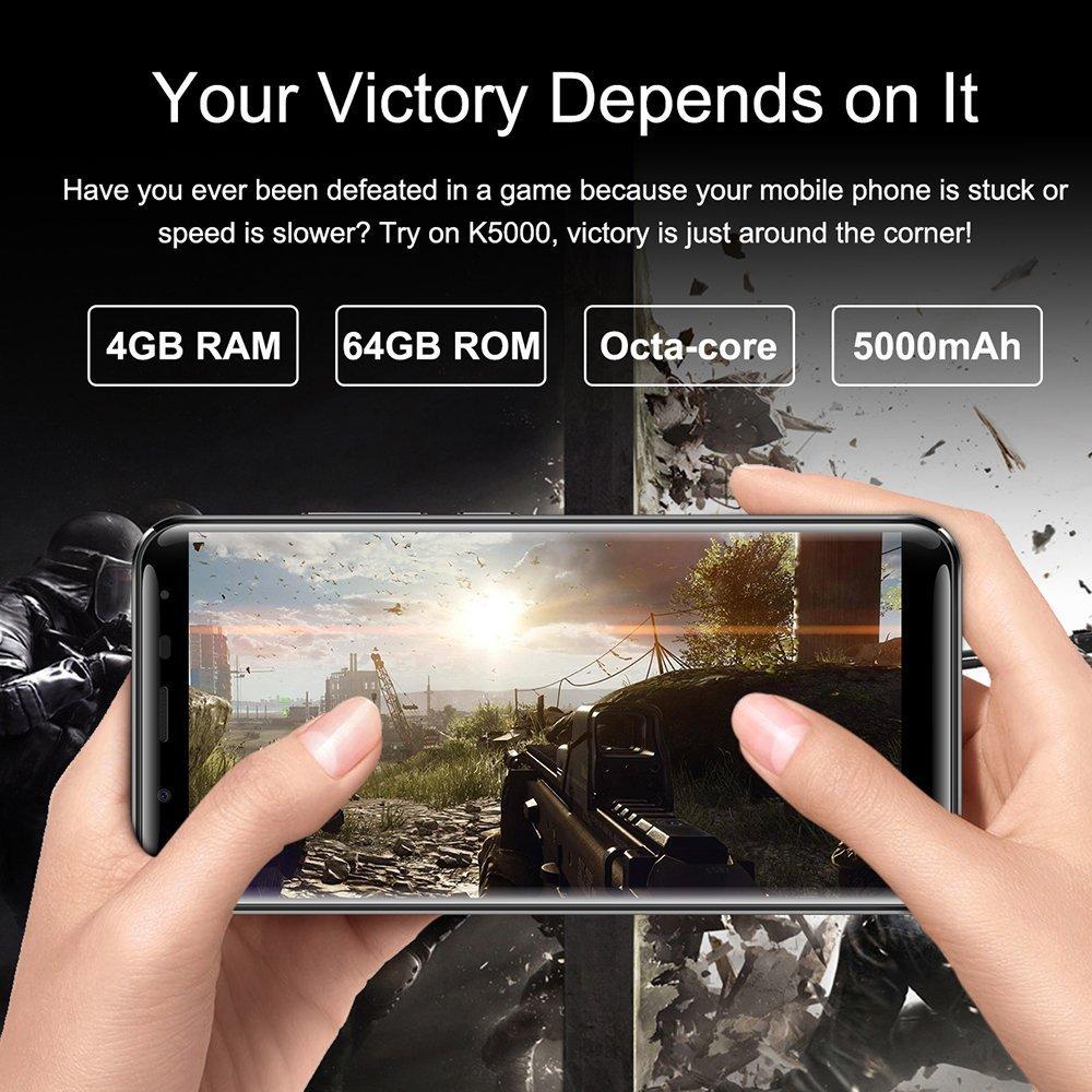 OUKITEL K5000 4G Fingerprint Smartphone (18: 9 Relación Visión Completa) + IPS Incell pantalla Android 7.0 4GB RAM 64GB ROM MTK6750T 16.0MP + 21 MP 5000mAh batería Carga rápida Fingerprint GPS BT4.1