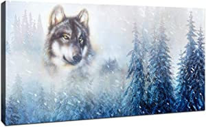 Canvas Prints Wall Decor Mountain Snowy Landscape With Wolf Pictures Canvas Wall Art for Bedroom, Living Room, Picture Framed Wall Art 20X40inch