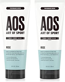 Art of Sport Men's Body Wash with Tea Tree Oil and Aloe Vera (2-pack), Rise Scent, Dermatologist-Tested, Paraben-Free, Hypoallergenic, Moisturizing Shower Gel