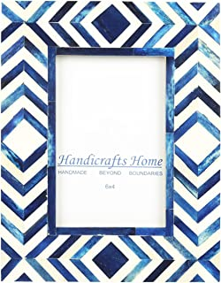 Handicrafts Home 4x6 Photo Frame Blue White Bone Mosaic Moroccan Picture Frames – Thanksgiving Gifts