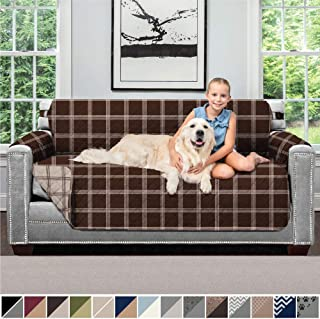 SOFA SHIELD Original Patent Pending Reversible Small Sofa Slipcover, 2 Inch Strap Hook, Seat Width to 62 Inch Washable Furniture Protector, Couch Slip Cover for Pets, Small Sofa, Plaid Chocolate Beige