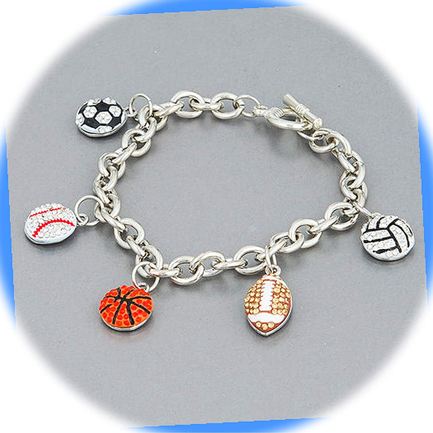 New Silver Tone Color Discount mail order Chain Baseball Quantity limited Football Basketball Soccer