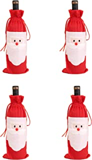 Amberetech 4PC Santa Claus Christmas Red Wine Bottle Cover Bags Christmas Dinner Table Decoration